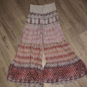 Free People Boho Flare Wide Leg Print Pants